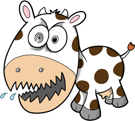 crazy cute: Crazy Insane Cow Vector Illustration Illustration