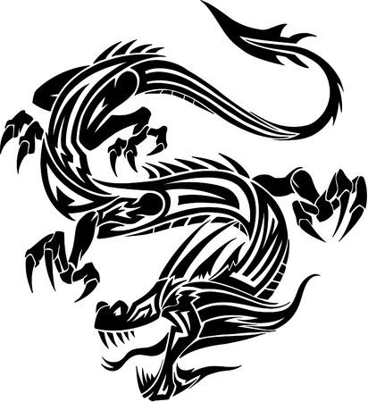 Tribal Tattoo Dragon Vector Illustration Vector