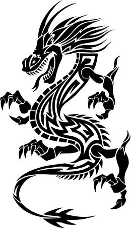 dragon: Tribal Tattoo Dragon Vector Illustration