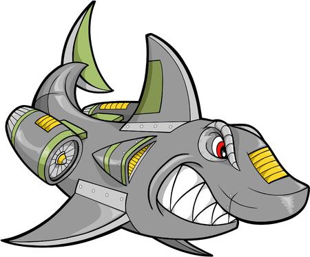 hostile: Robot Steel Shark Vector Illustration Illustration