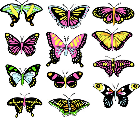 incest: Butterfly Set Vector Illustration