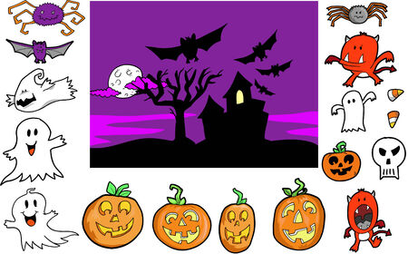 Halloween Set Vector Illustration Vector