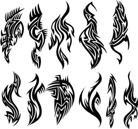 traditional culture: Tribal Tattoo Set Vector Illustration