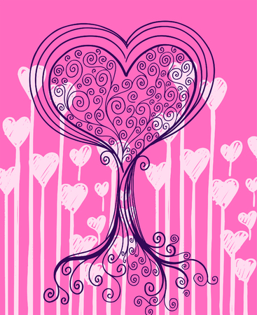 Heart Tree Vector Illustration