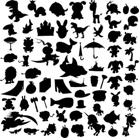 Unicorn fish: Silouettes Set Vector Illustration
