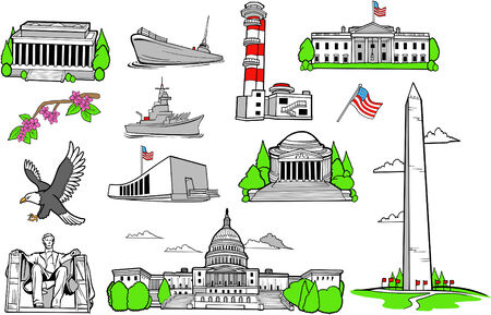 American Monuments Set Vector Illustration