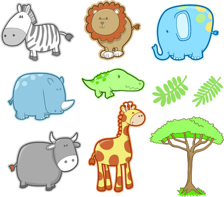 Cute Safari Animal Set Vector Illustration