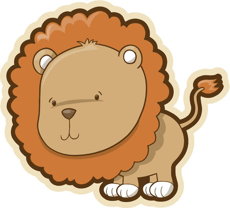 plains: Cute Safari Lion Vector Illustration