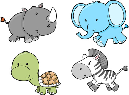 rhinoceros: Cute Safari Animal Set Vector Illustration