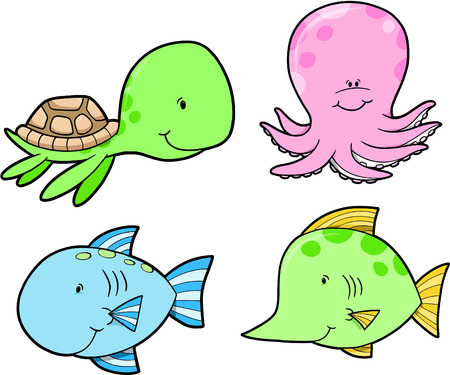 marinelife: Marine-Life Set Vector Illustration Illustration
