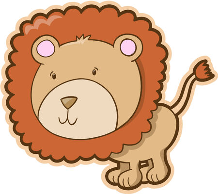 Cute Safari Lion Vector Illustration Vector