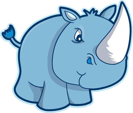 Safari Rhino Vector Illustration