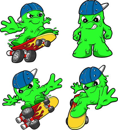 snot: Skateboarding Booger Set Vector Illustration