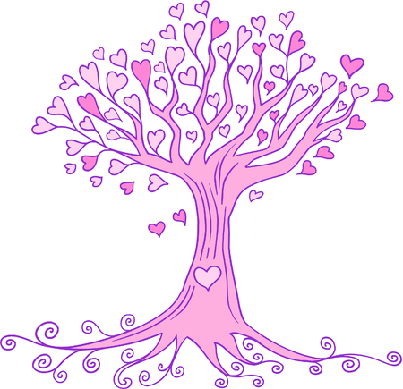 tree: Heart Tree Vector Illustration
