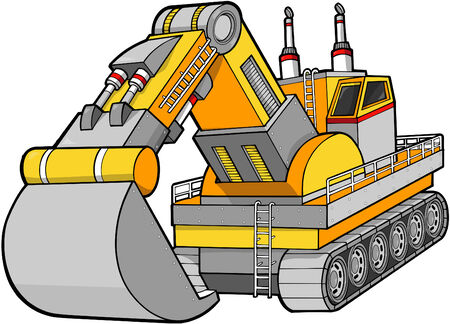 huge: Digger Construction Vector Illustration