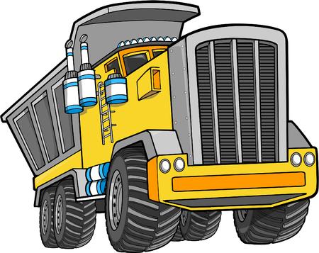 Vector Illustration of a Dump Truck Çizim