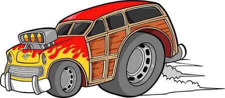 racecar: Woodie Car Vector Illustration Illustration