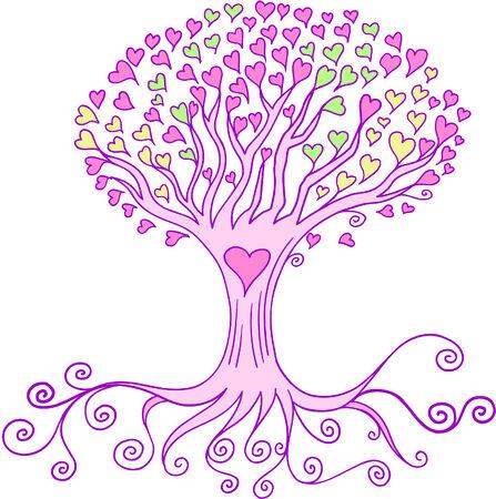 El amor del Corazón de árboles ilustración vectorial  Foto de archivo - 3054808