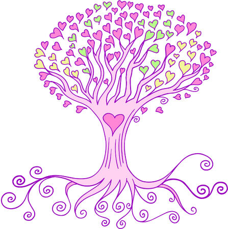 Love Heart Tree Vector Illustration