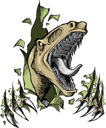 Sketchy Raptor dinosaur Vector Illustration  イラスト・ベクター素材