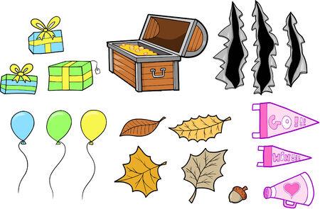 gold leafs: Elements Set Vector Illustration