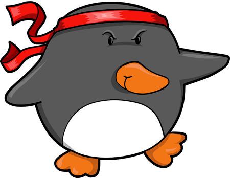 Warrior Penguin Vector Illustration