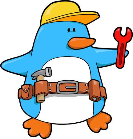 tools belt: Worker Penguin Vector Illustration