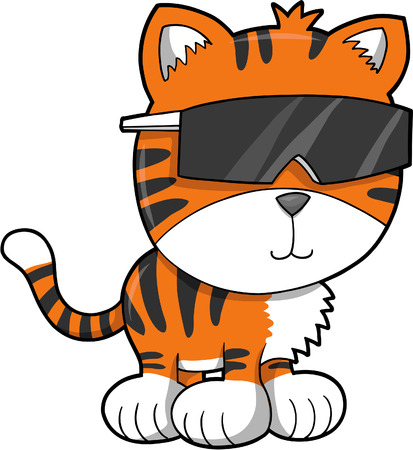 Cool Tiger Vector Illustration Stock Vector - 3273659