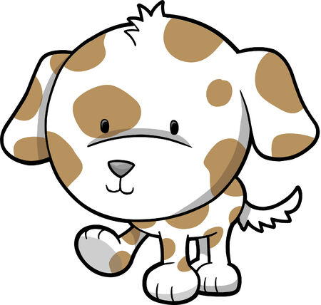 dog kennel: Puppy Dog Vector Illustration