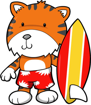 Surfer Tiger vector Illustration Vector