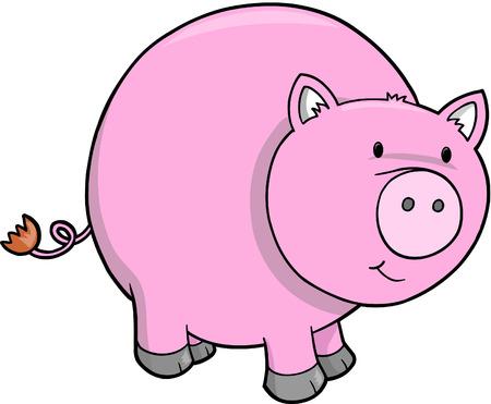 Farm Pig Vector Illustration