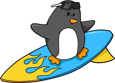 surfer vector: Surfer Penguin Vector Illustration