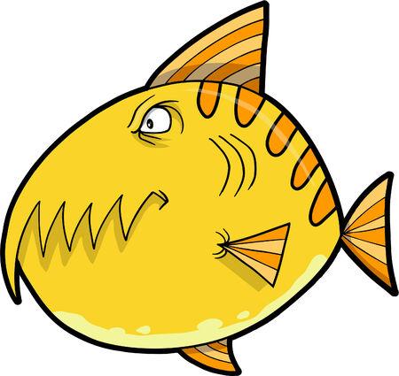 Monster Fish Vector Illustration Ilustração