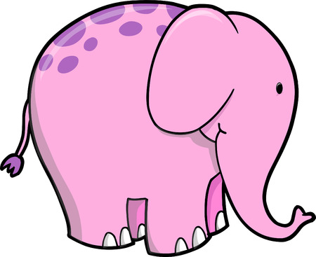 Pink Elephant Vector Illustration Vector