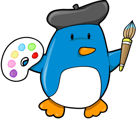 Artist Penguin Vector Illustration