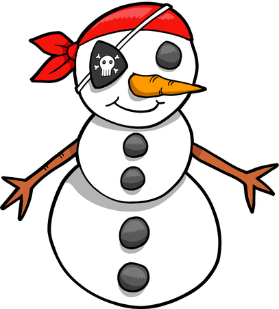 Snowman Pirate Vector Illustration