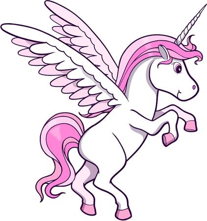 unicorn: Unicorn Pegasus Vector Illustration