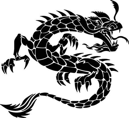 tatouage dragon: Tatouage tribal Dragon Vector Illustration