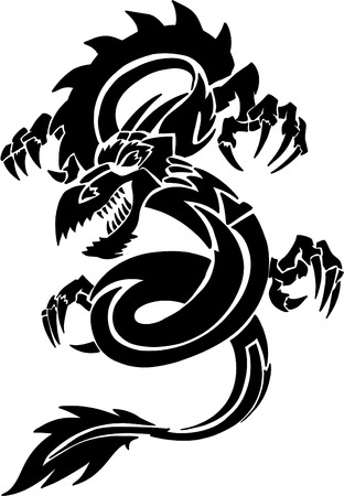 Tribal Tattoo Dragon vectorillustratie Stock Illustratie