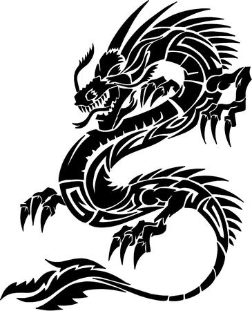 tatuaje dragon: Dragon tatuaje tribal ilustraci�n vectorial