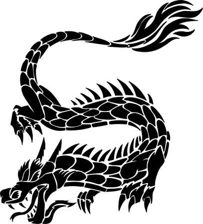 dragon tattoo design: Tribal Tattoo Dragon Vector Illustration