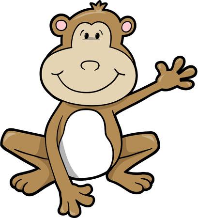 with illustration: Monkey Vector Illustration