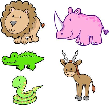 Cute Safari dieren set vector illustratie