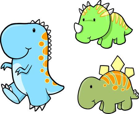 귀여운 벡터 공룡 세트