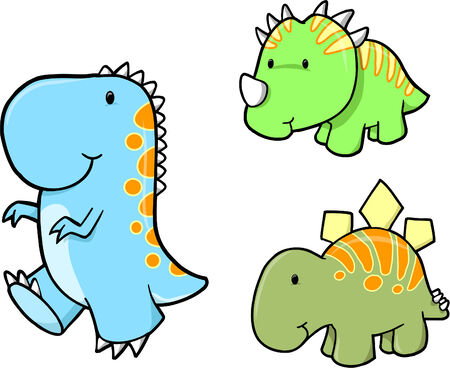 Cute Vector Dinosaur set Vectores