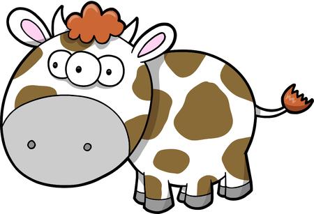 Happy Cow Vector Illustration Stock Vector - 3753089