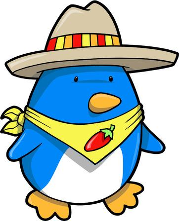 Mexican Penguin Vector Illustration   Çizim