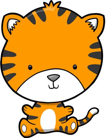 undomesticated: Cute Tiger Vector Illustration