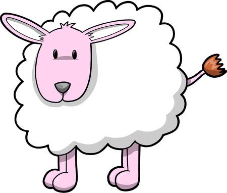 zoology: Lamb Sheep Vector Illustration Illustration