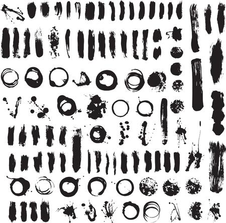 Brushs en geklater Set Vector Illustration